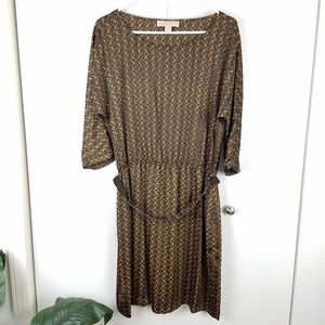 Michael Kors brown chain link design dress size L